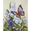 Бабочка на ирисах Алмазная вышивка мозаика на подрамнике Белоснежка 544-ST-S