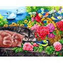 Корзина с цветами Раскраска картина по номерам на холсте 273-AB