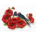 Ласточки Набор для вышивания счетным крестом и лентами Многоцветница МЛН-06