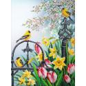 Цветы весны Набор для частичной вышивки бисером Паутинка Б-1296
