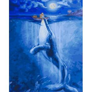 Встреча с китом в полнолуние Раскраска картина по номерам на холсте PK79059