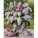 Сирень и чашка чая на столе Раскраска картина по номерам на холсте PK79051