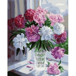 Пионы на окне Раскраска картина по номерам на холсте PK79038