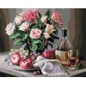 Натюрморт с яблоками и виноградом Раскраска картина по номерам на холсте PK79034
