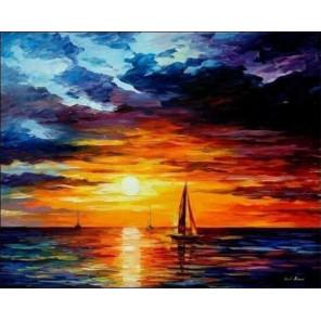 Корабли уходят на закат Раскраска картина по номерам на холсте MG060