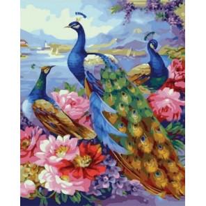 Жар-птицы у воды Раскраска картина по номерам на холсте MCA940