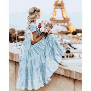 Сложность и количество цветов Девушка в Париже Раскраска картина по номерам на холсте GX30421