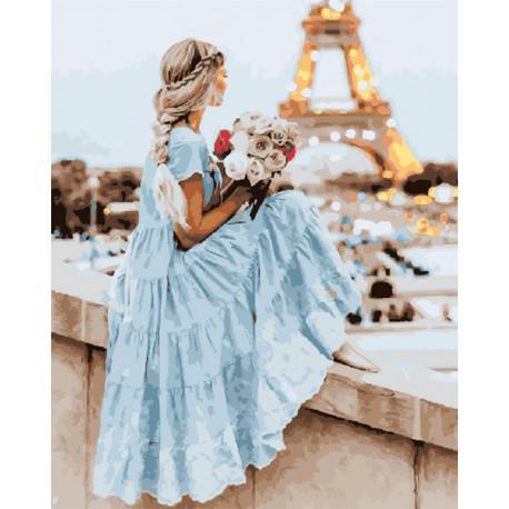 Девушка в Париже Раскраска картина по номерам на холсте GX30421