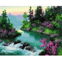 Цветущий берег горной реки Раскраска картина по номерам на холсте МСА366