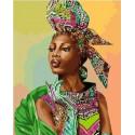 Африканская модница Раскраска картина по номерам на холсте МСА597