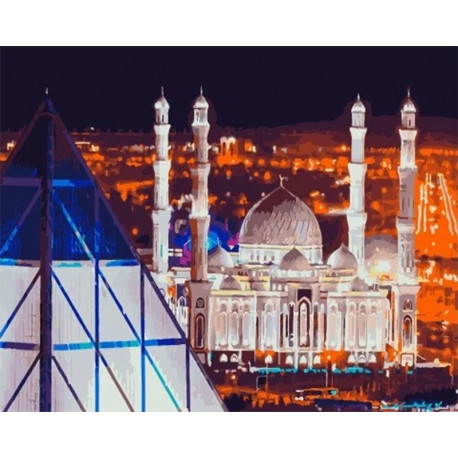 Мечеть Хазрет Султан, г. Нур-Султан Раскраска картина по номерам на холсте МСА624