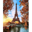 Осенний Париж Раскраска картина по номерам на холсте МСА656