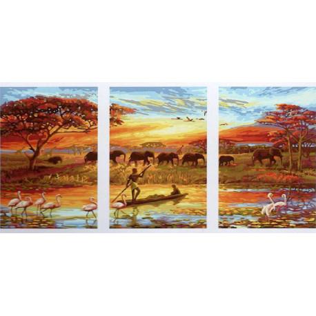 Африка Триптих Раскраска картина по номерам на холсте РX5166