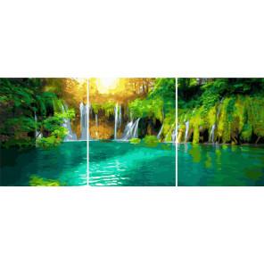 Солнечный водопад Триптих Раскраска картина по номерам на холсте РХ5311
