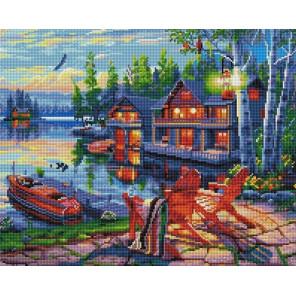 Дом у озера Алмазная вышивка мозаика на подрамнике GF2925