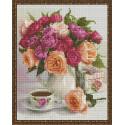 Натюрморт с розами и чаем Алмазная вышивка мозаика на подрамнике VА115