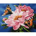 Бабочки на цветах Алмазная вышивка мозаика на подрамнике UA324