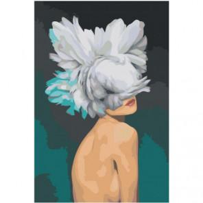 Скромная девушка с цветком на голове Раскраска картина по номерам на холсте