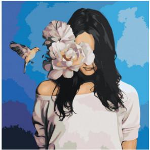 Девушка, белый цветок и птица 80х80 Раскраска картина по номерам на холсте