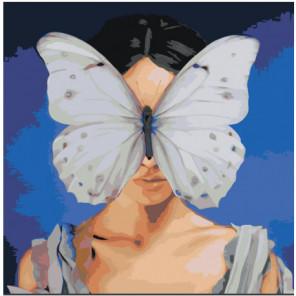 Девочка и бабочка на лице Раскраска картина по номерам на холсте
