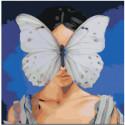 Девочка и бабочка на лице 80х80 Раскраска картина по номерам на холсте
