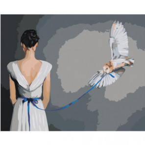 Девушка и сова 100х125 Раскраска картина по номерам на холсте
