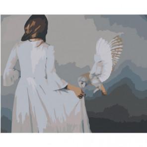 Сова и девушка 100х125 Раскраска картина по номерам на холсте