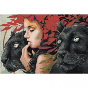 Девушка и две пумы Раскраска картина по номерам на холсте