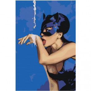 Женщина кошка на синем фоне Раскраска картина по номерам на холсте