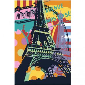 Красочная Эйфелева башня Париж 80х120 Раскраска картина по номерам на холсте