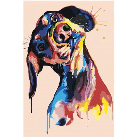 Радужная собака поп-арт 100х150 Раскраска картина по номерам на холсте