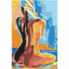 Радужная обнаженная блондинка 100х150 Раскраска картина по номерам на холсте