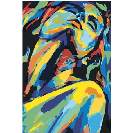 Портрет красочной девушки 80х120 Раскраска картина по номерам на холсте