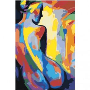 Силуэт радужной обнаженной женщины 100х150 Раскраска картина по номерам на холсте
