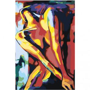 Страсть радужной девушки 80х120 Раскраска картина по номерам на холсте