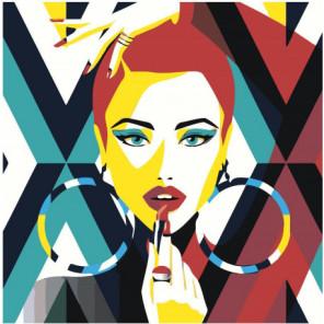 Красочная девушка с помадой поп-арт 80х80 Раскраска картина по номерам на холсте