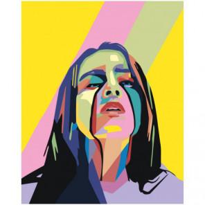 Красочная Билли Айлиш поп-арт 80х100 Раскраска картина по номерам на холсте