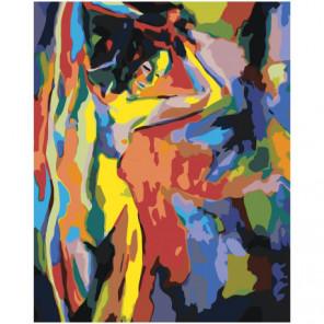 Фигура красочной обнаженной девушки 80х100 Раскраска картина по номерам на холсте