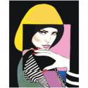 Портрет девушки абстракция 100х125 Раскраска картина по номерам на холсте