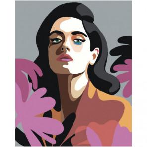 Портрет брюнетки поп-арт Раскраска картина по номерам на холсте