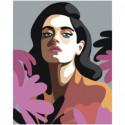 Портрет брюнетки поп-арт 80х100 Раскраска картина по номерам на холсте