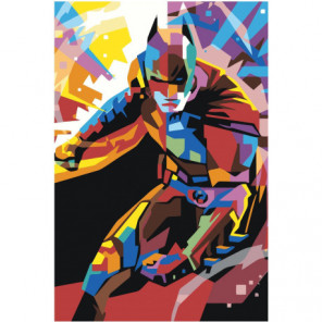 Красочный бэтмен 80х120 Раскраска картина по номерам на холсте
