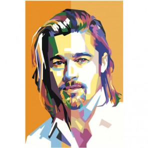 Красочный Брэд Питт Поп-арт 100х150 Раскраска картина по номерам на холсте