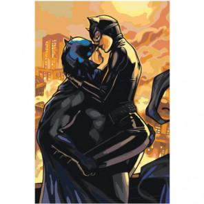 Женщина-кошка и бэтмен Объятия Раскраска картина по номерам на холсте