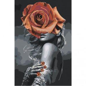 Девушка с красной розой на голове Раскраска картина по номерам на холсте