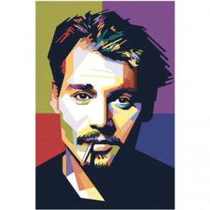 Красочный Джонни Депп Поп-арт 80х120 Раскраска картина по номерам на холсте