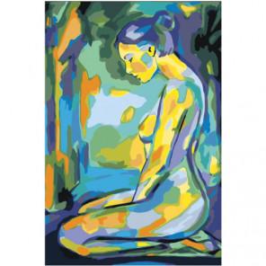 Обнаженная сидящая девушка Раскраска картина по номерам на холсте