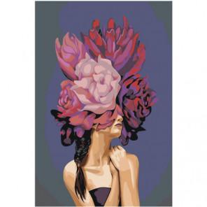 Девушка с фиолетовыми цветами Раскраска картина по номерам на холсте