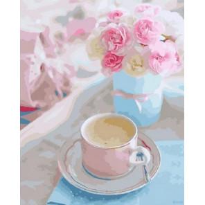Кофе и розы Раскраска картина по номерам на холсте GX29427