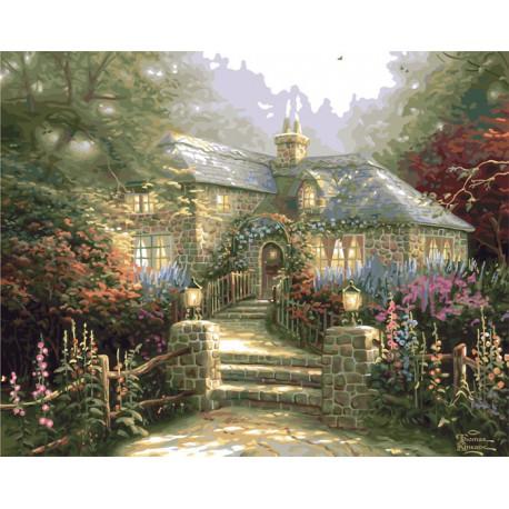 Дом в розовом саду Раскраска картина по номерам Plaid ...